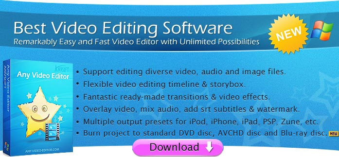 edit videos with Any Video Editor program.